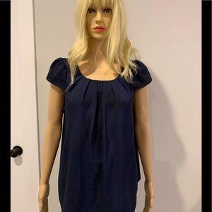 Francesca's navy cap sleeve blouse w back zipper